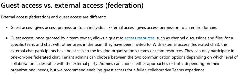 Federation vs  Guest Access – TeamsToday